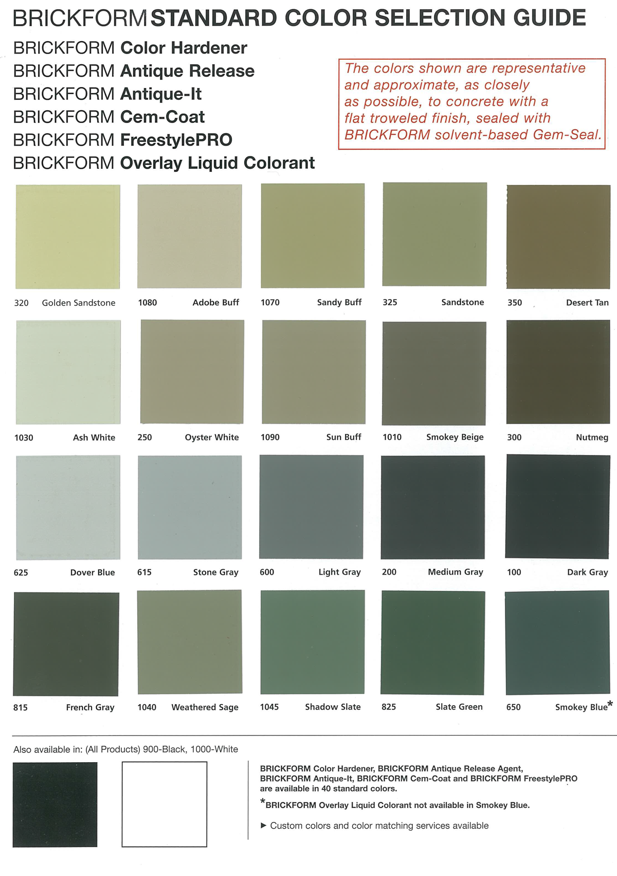 Concrete Colour Chart